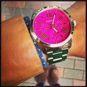 Fossil Pink Face watch gold